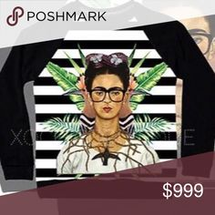 🎉BDAY SALE 20% OFF Frida Kahlo striped sweatshirt Fun, comfy & chic!  This new and amazing line carried by Xochic Boutique!  Hand selected By me for you! Carrying sizes up to 4XL.  Sizes do run small, please see pictures for sizing!  🔴Price firm unless bundled🔴  If I don't have your size, please let me know and I can order your size with my next order. Made in Mexico. Hand wash.  New retail without tags. 100% polyester lightweight sweatshirt xochic boutique Tops Sweatshirts & Hoodies
