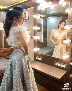 Lehenga blouse designs - Kabir singh 's heroine Indian Gowns Dresses, Indian Fashion Dresses, Dress Indian Style, Indian Designer Outfits, Indian Skirt And Top, Designer Dresses, Lehenga Designs, Saree Blouse Designs, Fancy Blouse Designs