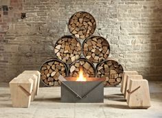 Dyehouse Garden Collection.  Steel log store and firepit. Solid oak stools.