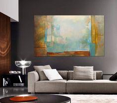 Abstract Painting  beige gray blue green orange yellow, Modern, Original. MADE…