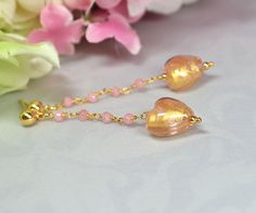 Peruvian pink opal rosary chain earrings with pink and gold Venetian Murano glass heart dangle