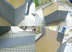 2. Vá revestindo suas caixinhas com o tecido colante (note que nas partes altas, um pedaço de tecido foi colado em cada extremidade para unir as caixas). Foto/reprodução: A Family