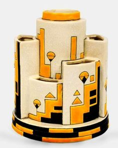 Geometric cubist style Art Deco vase -Charles Catteau 1929 | #ArtDeco