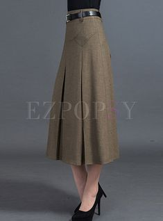 Casual A-line Patchwork Pleated Skirt - Outfits Women Casual Dress Outfits, Casual Skirts, Skirt Outfits, Fashion Outfits, Midi Skirt Outfit, Blouse And Skirt, Dress Skirt, Modelos Fashion, Winter Skirt