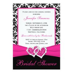 Pink Black White Damask Bridal Shower Invite