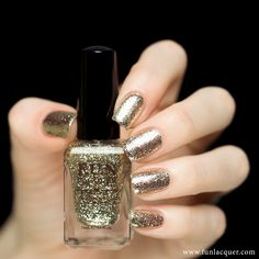Pay Day is NOT a glitter polish! It has a metallic finish, mirror effect, it's easy to apply too! This polish is a little pricey because this is a real sterling sliver flakies. These are coated in real silver, which gives them a luxurious sparkle. They are also cut finer, and make for a smoother application than silver shredded glitter. The color is between a light gold and silver, kinda like a platinum color! You can apply one coat over any color (like OPI 18k) or 3-4 coats to get ...