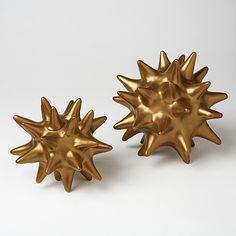 Global Views Ceramic Antique Gold Urchin-Antique Gold Urchin-sea, decor-urchin, home accent