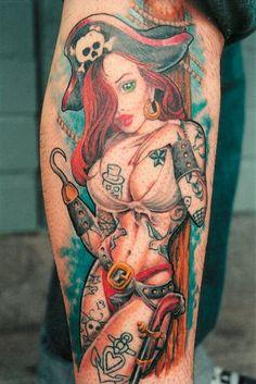 Yo hoe hoe pin-up-pirate-design-of-tattoo