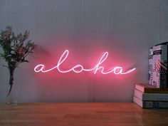 Hawaii Aloha Real Glass Neon Sign For Bedroom Garage Bar Man Cave Room Home Decor Handmade Artwork Wall Lighting Includes Dimmer Rooms Home Decor, Bedroom Decor, Wall Decor, Bedroom Ideas, Bedroom Curtains, Sheer Curtains, Custom Neon Signs, Led Neon Signs, Wall Collage