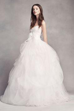 Extra Length White by Vera Wang Draped Tulle Wedding Dress - Soft White, 18W