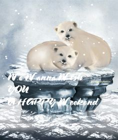 DesignByNettis: Happy weekend   ♥ we is just poppin in on YOU just wanna wish you a #happyweekend from our little corner of the world ♥ #polarbear   #designbynettis   #artgif   #snowfall   #winter   #wintertime   #artgif   #gifimages   #cute   #words   #weekend