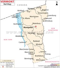 Vermont Rail Map Shows The Train Routes Around The Vermont State In Usa The State S Railway Network Connects All The Major Cities And Towns