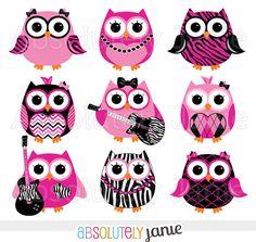 Girly Rocker Owls Zebra Print Digital Clipart  by AbsolutelyJanie