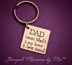 Definition of Dad  Hand Stamped Copper Key by StampedMemoriesbyMel, $24.00