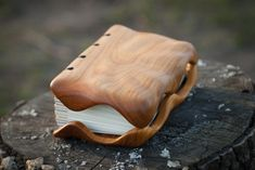 Cherrry handmade wooden journal / natural by MWmemoriesofwood