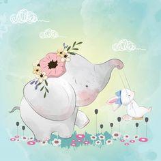 Pequeño elefante con sus amigos conejito en el columpio Vector Premium Little elephant with his bunny friends on the swing Premium Vector Illustration Mignonne, Baby Illustration, Illustrations, Little Elephant, Cute Elephant, Cute Images, Cute Pictures, Cartoon Mignon, Lapin Art