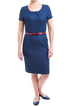 A charming fitted denim dress, with robins egg blue polka dots, with pleated details at the neckline. The red belt is optional, and has a adorable bow detail on the loop, with sliding adjustable design. Unlined. Opaque.