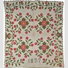 """WHIG ROSE QUILT/ Abigail Hill (dates unknown), probably Indiana, United States, 1857–1858, cotton, 79 3/4 × 70"""", collection American Folk Art Museum, gift of Irene Reichert in honor of her daughter, Susan Reichert Sink, and granddaughter, Heather Sink, 1992.13.1. Photo credit: Matt Hoebermann."""
