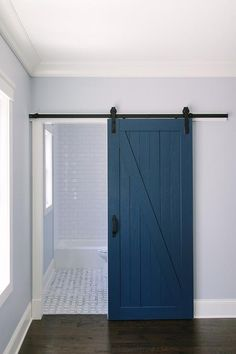 Blue Barn Door Paint Color Is Benjamin Moore Hudson Bay . Types Of Interior Doors For Home. Remodelaholic Decorating With Black: 13 Ways To Use Dark . Home and furniture ideas is here Barn Bathroom, Bathroom Doors, Bathroom Floor Tiles, Kitchen Tiles, Bathroom Art, Diy Barn Door, Barn Door Hardware, Light Blue Walls, Interior Barn Doors