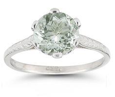 Vintage Leaf Green Amethyst Ring in 14K White Gold