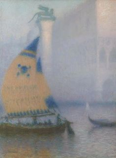 French artist, Lucien Levy-Dhurmer (1865-1953) Venice in the fog.  wonderful!