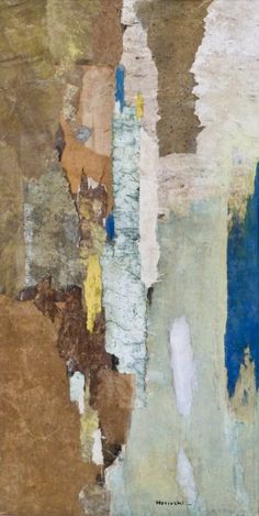 """Paul Horiuchi's """"Spring Cliff"""" Casein Collage on Board 35''x18''"""