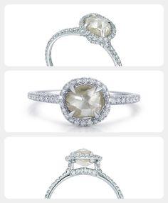 A natural unique uncut rough diamond engagement ring with micro pave diamond accents. #uniquering #luxuryjewelry #diamonds
