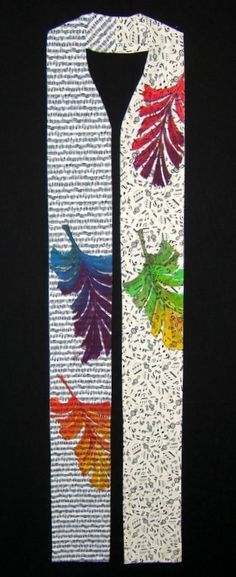 Rainbow Leaves - CandMDesigns.biz / handcrafted clerical stoles liturgical vestments