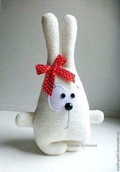 Купить Зая Буська - белый, зая, зайка, милый подарок, милая игрушка, красный в…