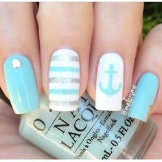Summer mani by using our Anchor & Straight Nail Vinyls found at snailv… - Summer nails Cute Nail Art, Cute Nails, Pretty Nails, Nail Lacquer, Nail Polish, Nail Nail, Anchor Nails, Nautical Nails, Nail Stencils