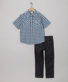 Take a look at this Longstreet Blue Plaid Button-Up & Gray Jeans - Boys on zulily today!