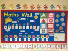 Maths display showing variety of topics and resources children have been learning about.