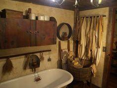 Old farmhouse bathroom ideas old farmhouse bathroom simply primitive antiques small farmhouse bathroom chandelier Primitive Country Bathrooms, Primitive Bathroom Decor, Primitive Homes, Primitive Kitchen, Rustic Bathrooms, Primitive Antiques, Country Farmhouse Decor, Primitive Decor, Country Living