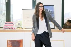 Le Fashion Blog Jenna Lyons Queen Of Cool Tux Blazer Jogger Pant High Top Sneakers Via Into The Gloss photo by lefashion