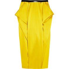 Toga Folded silk-satin pencil skirt ($200) found on Polyvore