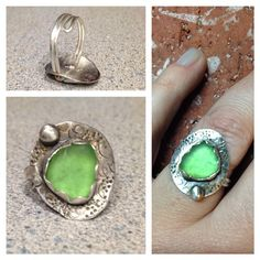 Sea glass and sterling silver, by Zona Sherman Designs