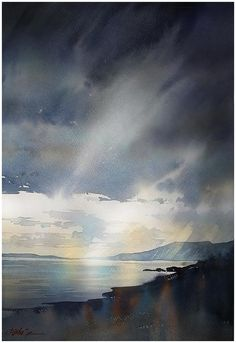 Where the Mountains Sweep Down to the Sea by Thomas Schaller (watercolor) / paysage / nuages / mer / lumière / côte Watercolor Sky, Watercolor Artists, Watercolor Paintings, Watercolours, Abstract Watercolor Tutorial, Landscape Art, Art Photography, Scenery, Fine Art