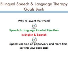 Comprehensive Goal Bank for SLP's. Goals available in all areas: Articulation, Phonology, Receptive Language, Expressive Language, Pragmatics, Fluency, Voice. Goals are written in English & Spanish to make IEP writing a breeze! (Spanish Speech Therapy)