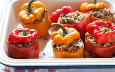 Roasted Bell Peppers Stuffed with Quinoa  (It is even tasteir if you line the bell pepper with Goat Cheese, before  you cook it!)