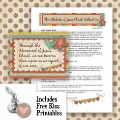 February 2015 Visiting Teaching Lesson & Cards, also includes Free Hershey's Kiss Circle Printables and Gift Tag