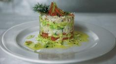Locally caught Brown Crab and Avocado Timbale, Chilli & Lime Vinaigrette