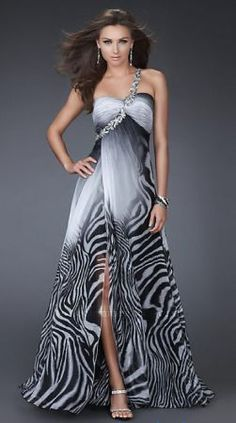 One Shoulder Black & White Ombre Print Dress