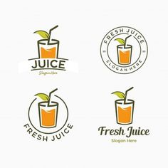 Set Of Juice Drink Logo Template Combination Mark Orange Drinks, Orange Fruit, Orange Juice, Fruit Logo, Mango Logo, Bubble Drink, Berry, Juice Logo, Tea Logo