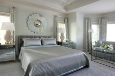Muted Blue And Silver Bedroom Retro Bedrooms Glamorous Guest Master
