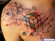 really weird math/rubik's cube...whatever the heck it is tattoo.....my son would love this one