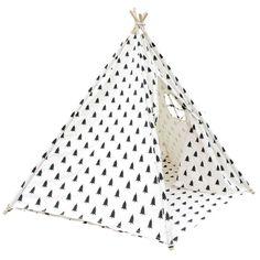5 Poles Black White Tree Teepee Tent with Storage Bag