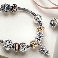 Pandora sterling silver oxidized bracelet with gold Pandora clasp