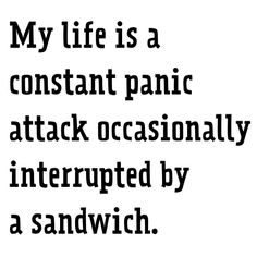 My life is a constant panic attack occasionally interrupted by a sandwich #PanicAttackHumor