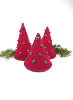Whimsical Christmas trees Felted trees Cherry by HereAtSmallGoods