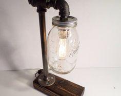 Quart Ball Mason Jar Edison lamp - bookshelf end/Table Desk lamp - Antiqued finished wood - Steam punk style light New york loft industrial